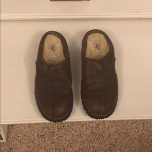 Leather Ugg mules brown size 7
